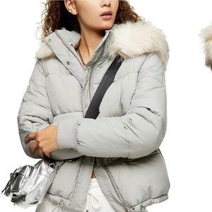 Topshop Grey Puffer Coat